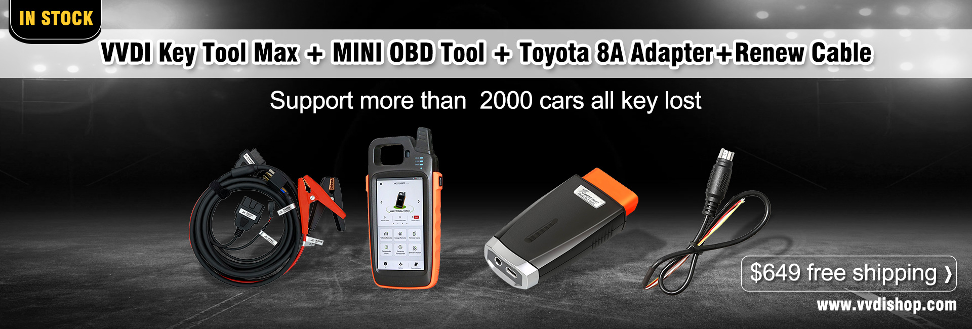 VVDI Key Tool Max + MINI OBD Tool + Toyota 8A All Keys Lost Adapter+Renew cable
