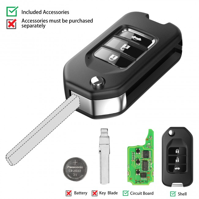 XHORSE XNHO00EN Honda Style Wireless Universal Remote Key Fob 3 Buttons 5 Pcs/lot