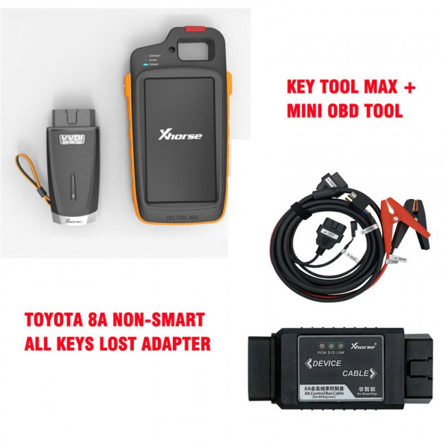 VVDI Key Tool Max + MINI OBD Tool + Toyota 8A All Keys Lost Adapter + Renew Cable(UK/US warehouse in stock)