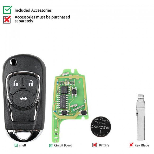 XHORSE XKBU03EN  Buick Style Wired Universal Remote Key Flip 3 Buttons for VVDI VVDI2 Key Tool English Version 5pcs