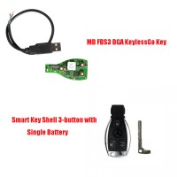 MB FBS3 BGA KeylessGo Key + Best Quality Benz Smart Key Shell 3-button with Single Battery