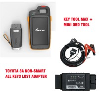(UK/US/RU Ship)VVDI Key Tool Max + MINI OBD Tool + Toyota 8A All Keys Lost Adapter + Renew Cable [Send Renew Cable+2 Smart Remotes]
