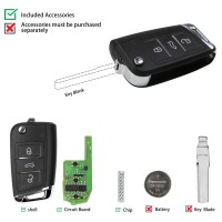 XHORSE XEMQB1EN MQB Style 3 Buttons Super Remote Key with Built-in Super Chip English Version 5 Pcs/Lot