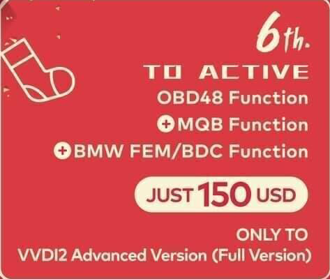 Xhorse VVDI2 OBD48 Function + MQB Function+ BMW FEM/BDC Function (For VVDI2 Full Version Only)